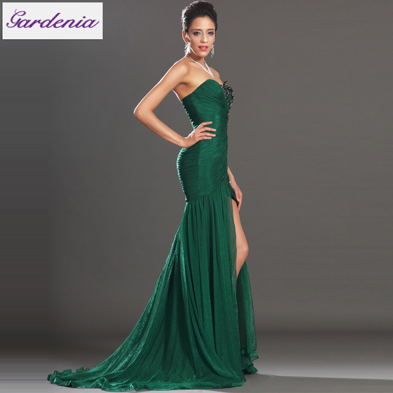 Hot !! Flowy Chiffon Evening Dress High Front Slit Long Gowns ...