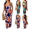 2019 Newest Hot Women's Summer Boho Floral Long Maxi Evening Party Beach Dress Floral Sleeveless V Neck Sundress 2