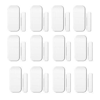 Intelligent Wireless Door Magnetic Sensor Door Gap Window Sensors Detectors 433MHz For our Alarm System 12pcs/lot