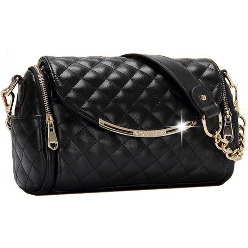 ФОТО New Luxurious Boston Women's Messenger Bags Fashion Genuine Leather Diamond Lattice Crossbody Shoulder Bag Chains Women Handbag