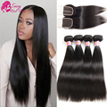7A Peruvian Straight Hair With Closure Peruvian Virgin Hair with Closure 3 Bundle Human Hair Bundles With Frontal With Baby Hair