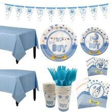 1 conjunto de chá de bebê decoração festa talheres aniversário do miúdo placa de papel copo toalha de mesa chá de bebê gênero revelar fontes de festa