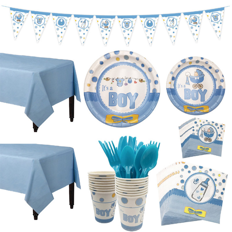 1Set Baby Shower Decoration Party Tableware Kid Birthday Paper Plate Cup Tablecloth Baby Shower Gender Reveal Party Supplies
