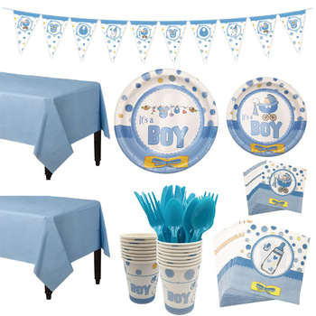 1Set Baby Shower Decoration Party Tableware Kid Birthday Paper Plate Cup Tablecloth Gender Reveal Supplies