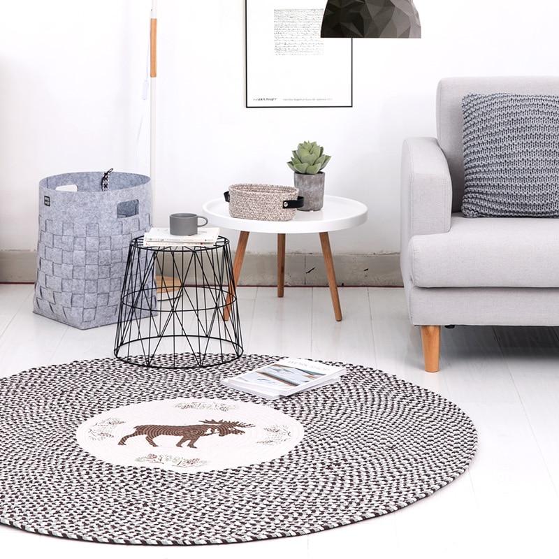 미국 국가 스타일 목화 원형 카펫 침실 거실 가구 티 - 홈 섬유