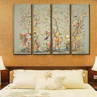 YongHe Ungerahmt Leinwand Spray Ölgemälde Traditionelle Chinesische Malerei Singing Birds Und Duftenden Blumen Tinte Malerei Landscap