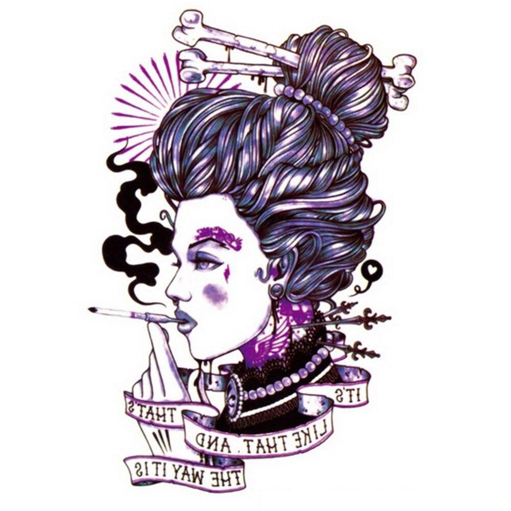 Yeeech Temporary Tattoos Sticker for Women Smoking Lady Bones Designs Long Lasting Waterproof Body Art Arm Leg Fake Transfer