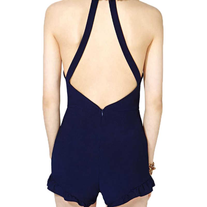 HYH HAOYIHUI 2017 New Fashion Women Romper Blue Women Sexy Romper Jumpsuit Trim Hem Halter Backless Summer Tie Waist Slim Short