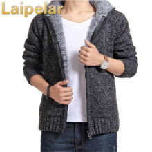 Men winter plus size sweaters thick velvet cotton hooded tops men padded knitted casual sweater cardigan coat Laipelar