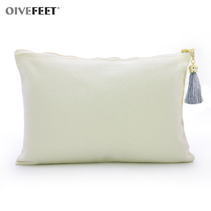 OIVEFEET,16oz Plain White Cotton Canvas Cosmetic Bag with Rayon Tassel Gold Zipper Makeup Pouch Cotton Clutch Handbag(China)