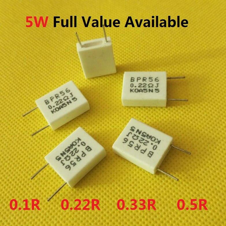 10PCS 5W 0.22R 0.33R 0.1R 0.5R 0.01R 0.015R 0.02R 0.05R 0.15R 0.2R Non Sense Cement Resistor 5W0.22R 0.22/0.33/0.1/0.5  Ohm