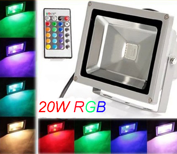 Us 426 89 23 Off Dhl Free Shipping Ac110v 240v High Voltage 20w Rgb Color Led Flood Light Outdoor Landscape Garden With Ir Remote In