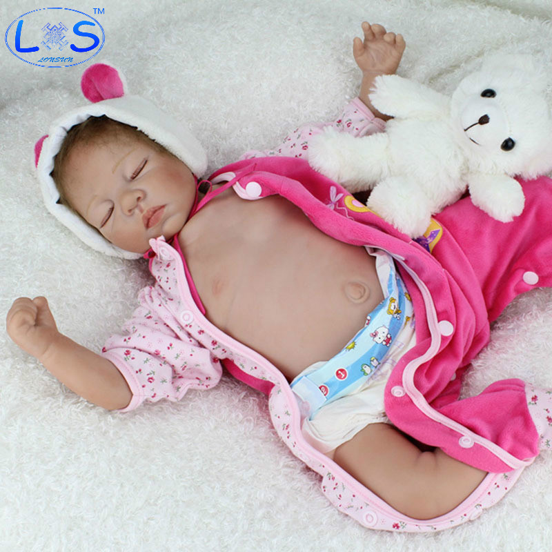 LONSUN Fast Asleep Silicone Reborn Dolls Hobbies Stuffed Toys Accessories Dolls Bedtime Early Education Girl Toys Christmas Gift