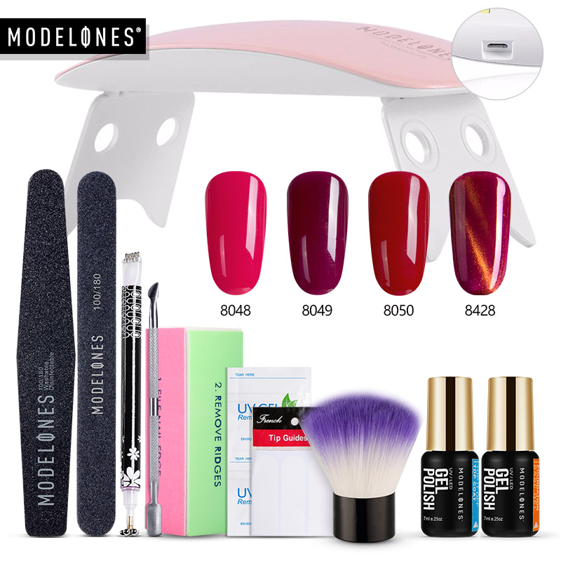 Modelones 15 teile/los Nail art Gel Polnischen Kits SUNmini 6 watt Led Lampe Nagel Trockner 4 Farben Gel Basis Mantel top Mantel Nagel Maniküre Set