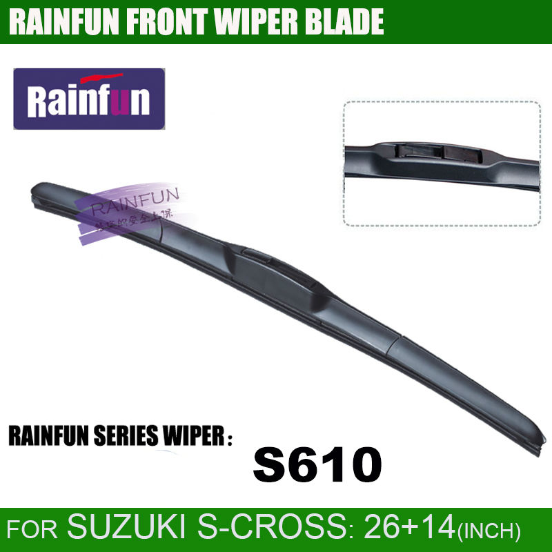 RAINFUN специализированная 26+ 14 дюймов Автомобильная щетка стеклоочистителя для SUZUKI S-CROSS, автомобильный стеклоочиститель, автомобильный мягкий стеклоочиститель, 2 шт. в партии