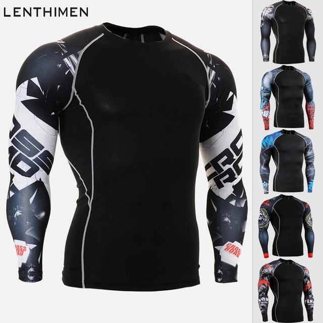 c76e4170c15617 Mens Compression Tights Base Layer Running Shirt Men Tight Jersey  Long-Sleeved Shirt Fitness Sport Suit GYM Fitness Top Rashgard