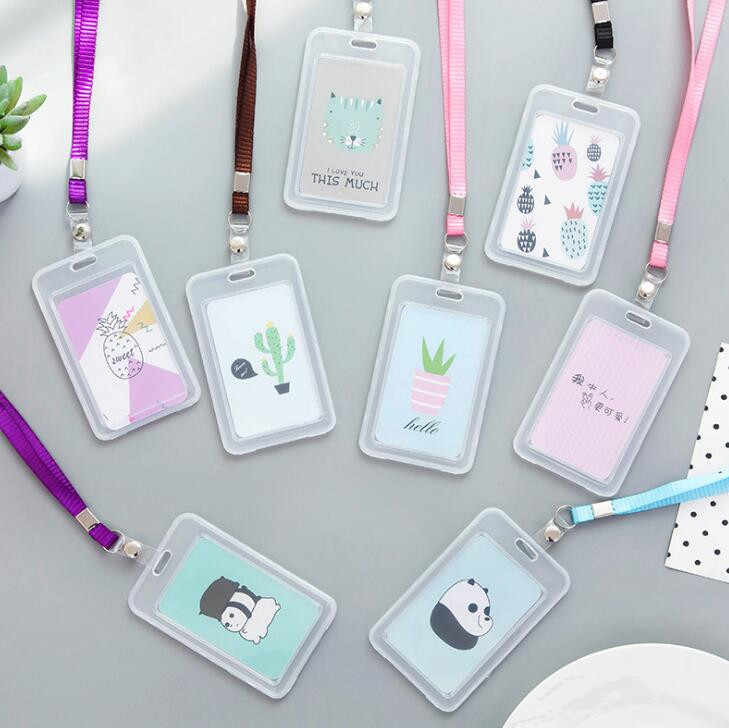 1PC Kawaii Cartoon Kaarthouder met Lanyard ID Credit Bus Kaart Opslag Briefpapier School Kantoorbenodigdheden, Willekeurig Verzonden