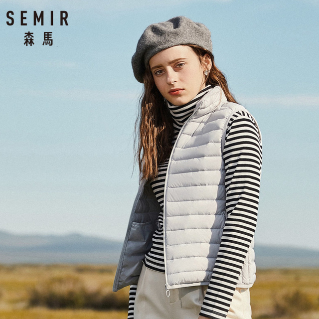 SEMIR Women Packable Quilted Lightweight Down Vest with Zip Pocket Light Puffer Stand-up Collar Vest Chinlon Lined with Zip 1