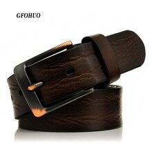 GFOHUO ceintures en cuir véritable pour hommes, nouvelle marque de luxe, styliste de bonne qualité, large boucle à épingle, pour Jeans