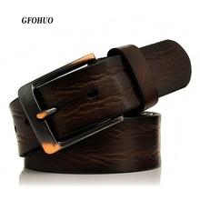 GFOHUO חדש למעלה עור אמיתי חגורות גברים יוקרה מותג מעצב באיכות גבוהה עסקי רצועת זכר רחב פין אבזם עבור ג ינס