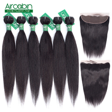 Лучший!  Aircabin Hair Malaysia Straight Hair Bundles With Frontal And 50g Bundl with Lace Front Closure Non Remy Human Hair Extensions