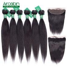 Бразильские прямые пучки волос с фронтальным наращиванием человеческих волос 4 и 6 50 г пучки