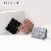 LAFESTIN Women Wallet Luxury Glitter Sequin Purses High Capacity Card Holder Coin Purse Short cartera mujer