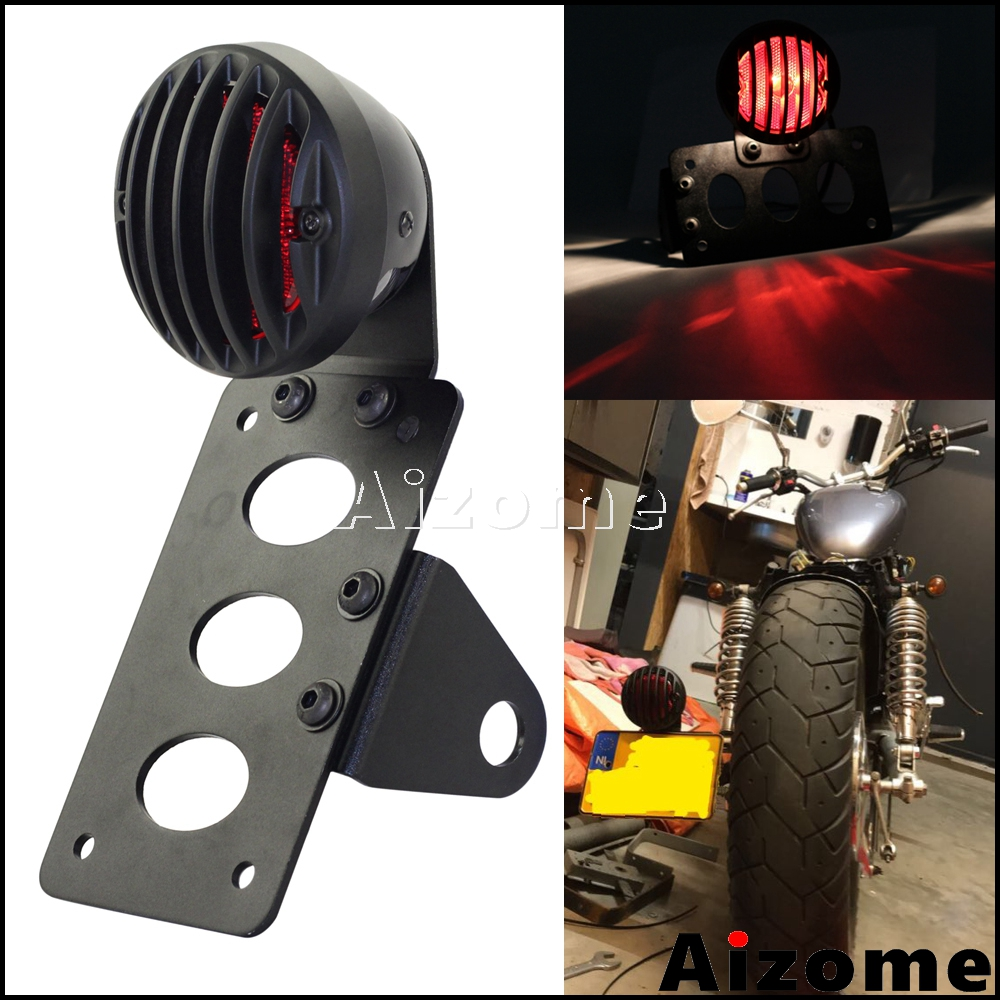 Black Motorcycle Side Mount Tail Light W/ License Number Plate Bracket For Harley Sportsters Bobber Chopper Rear Stop Light