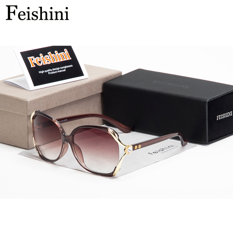 FEISHINI גבוהה באיכות עייפות התנגדות UV400 שמש משקפיים מלאכותי קריסטל קישוט בציר משקפי שמש נשים מעצב מותג