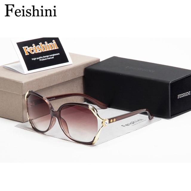 Feishini Quality Fatigue Resistance Oversized Sunglass Luxury Artificial Crystal Ornament Vintage Sunglasses Women Brand Design