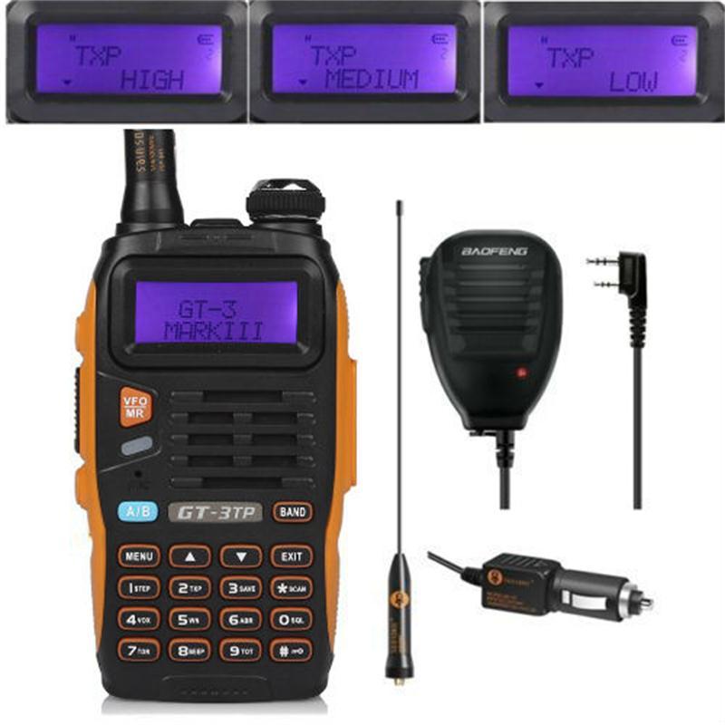 Baofeng GT-3TP MarkIII 1/4/8 Watt haute puissance 136-174/400-520 MHz Radio bidirectionnelle talkie-walkie avec haut-parleur de Microphone