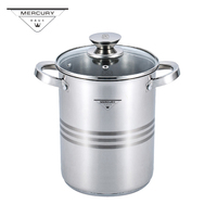 Mercury Haus 4.3L Stainless Steel Noodle Soup Saucepan Pot with Steam Basket Cooker for Spaghetti and Vegetables with Glass Lid