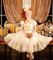 Latest 2014 Girl Frock Design Flower Girl Dress Ivory White Beige Chiffon Dress