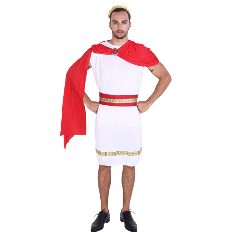 Halloween Party Adult Men Prince Cosplay Costumes White Warrior Soldier Cosplay Suits Roman Arab King Clothes