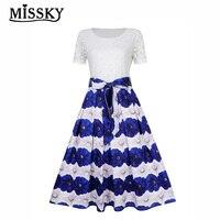 MISSKY Women Floral Lace Short Sleeve Modest Swing Dress Round neck stitching printing belt slim dress