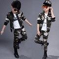 Conjunto de roupas infantis meninas outono adolescente meninos esporte terno camuflagem 2 pcs escola roupa dos miúdos treino 4 ~ 13 anos meninos roupas