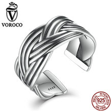 VOROCO 925 Sterling Silver Triple Braided Vintage Do old Retro Open Cuff Band Adjustable Ring Woman Fine Jewelry VSR012