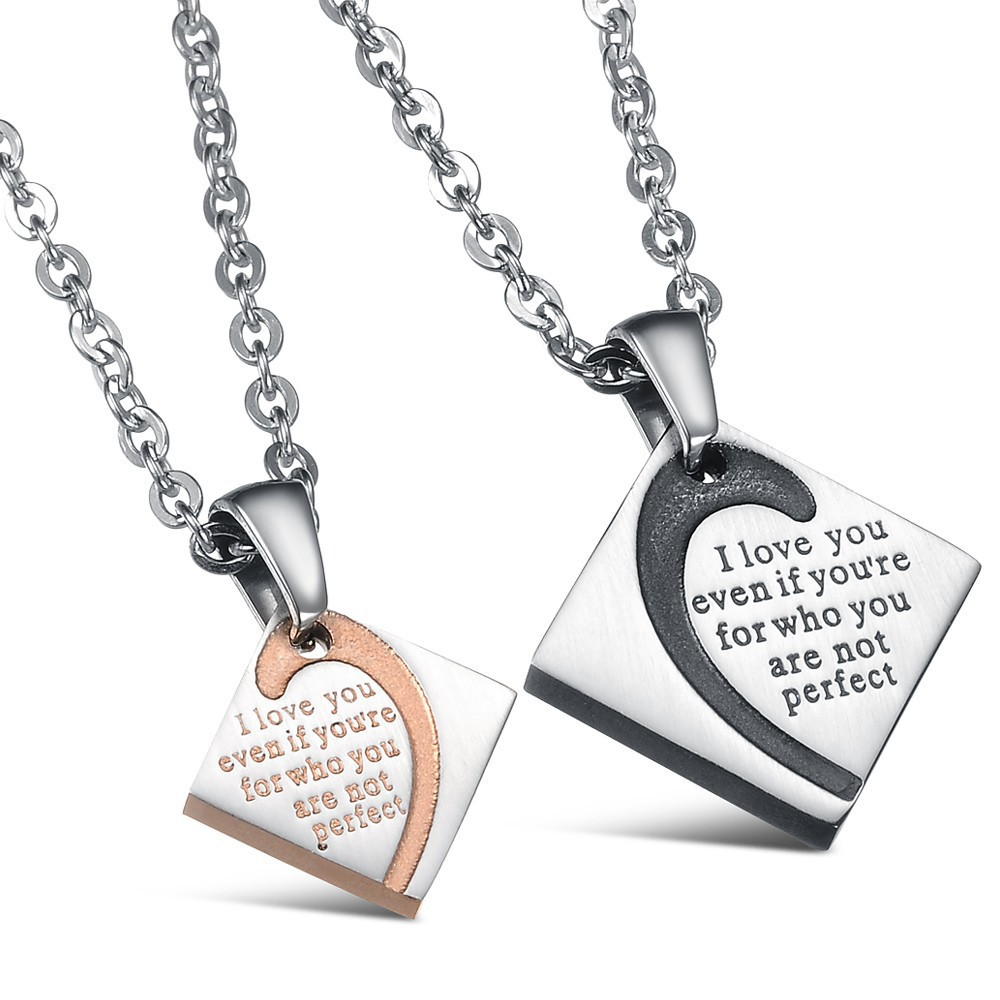 Stainless Steel Lovers Necklace pendant His and Her ...