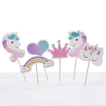 24pcs/pack Unicorn Cupcake Topper Happy Birthday Rainbow Decor Kid Paper Cake Topper Baby Shower Favor Party Event Supplies