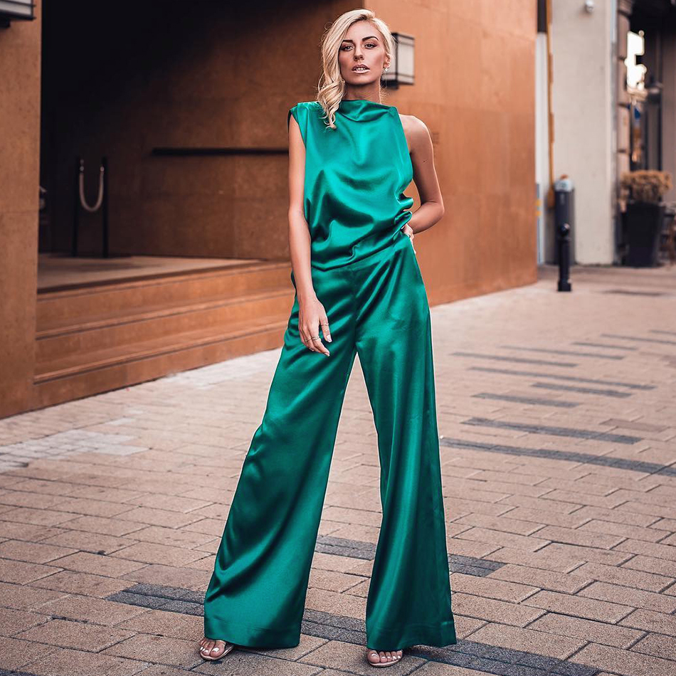 ADYCE 2019 New Summer Women Bodycon Fashion Sets Vestidos 2 Two Pieces Set Green Sleeveless Top&Pant Celebrity Evening Party Set
