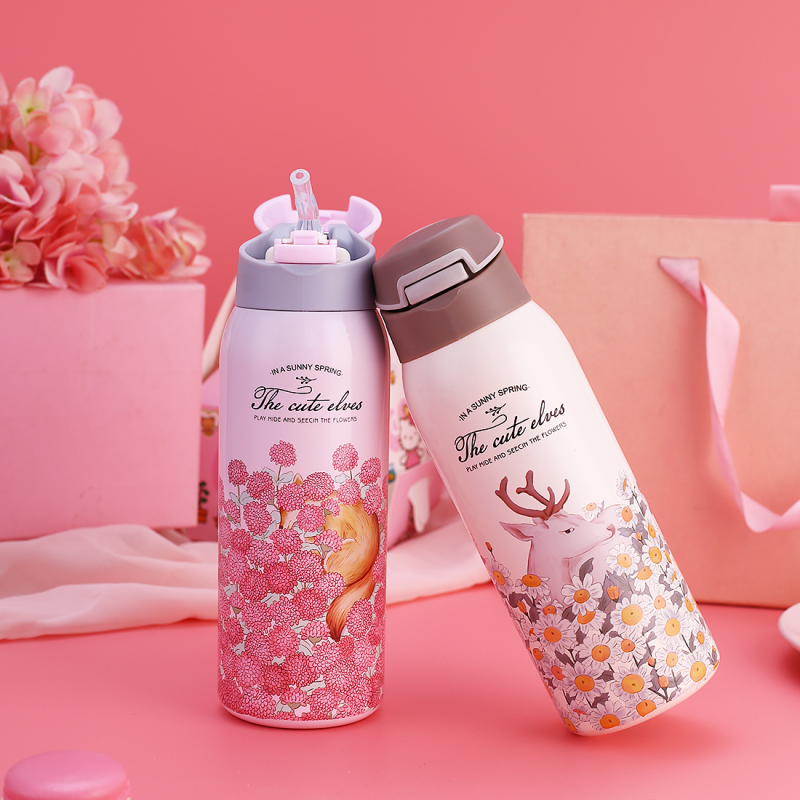 Thermos Bottle Insulated Cup Baby Drinker With Straw Baby Feeding Tumbler  Drinkware Portable Thermos Cup 350ml 450ml For Kids