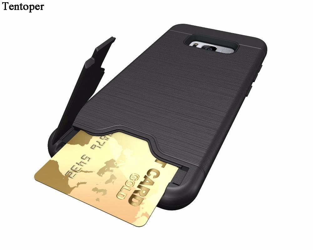 Pouzdro pro Samsung Galaxy S8 S8 Plus zadní kryt odolný vůči nečistotám, silikonové telefonní pouzdra pro Samsung S8 kreditní karty, kapsa na skryté pouzdro