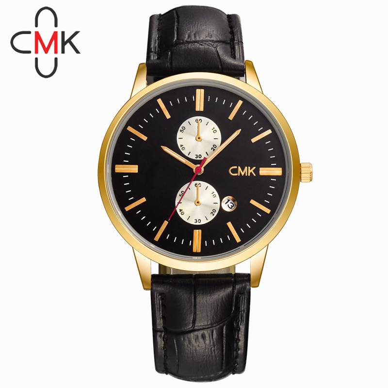 CMK Brand Simple Style Leather Strap Men Business Quartz Watch Fashion Male Waterproof Wristwatch High Quality Calendar Watch 2016 quartz watch men fashion brand leather casual women wristwatch simple style business watch male lovers relojes masculino