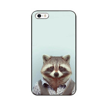 Fashion Man Shape Animal Funny UV Black Bag Case For iPhone4 4S