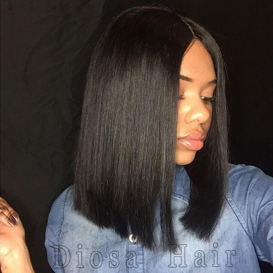 Middle Part Short Bob Wigs Straight Full Lace Wigs Human