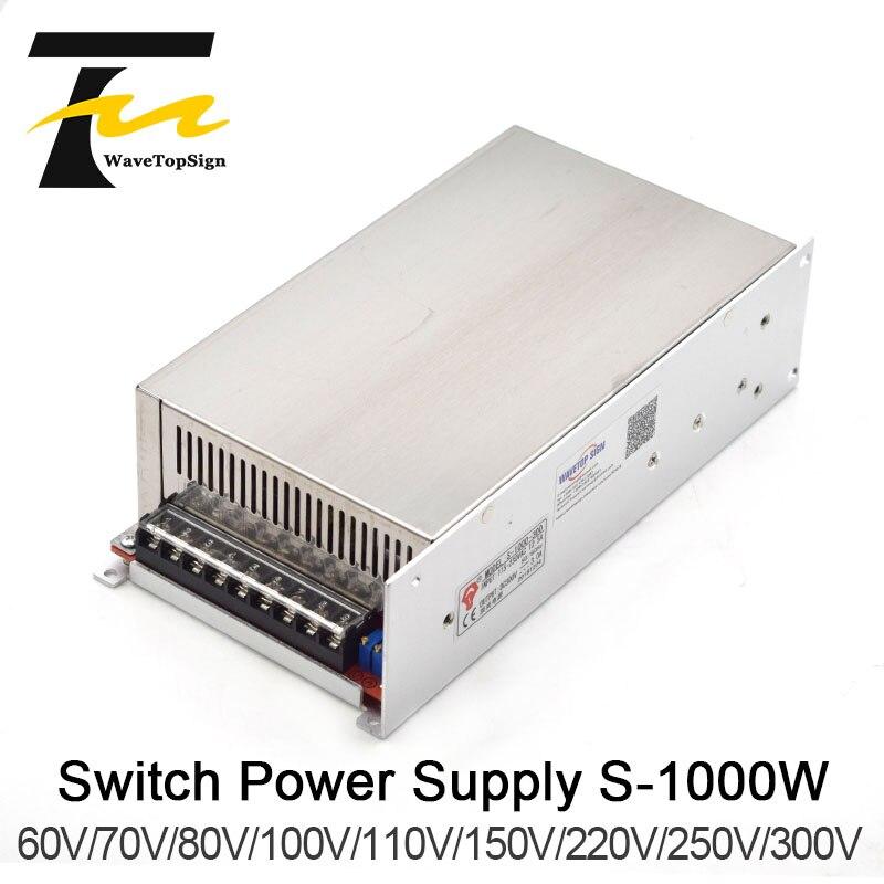 WaveTopSign 1000 W DC tension régulée réglable haute puissance alimentation à découpage sortie VDC 60 V 70 V 80 V 100 V 110 VInput AC220V