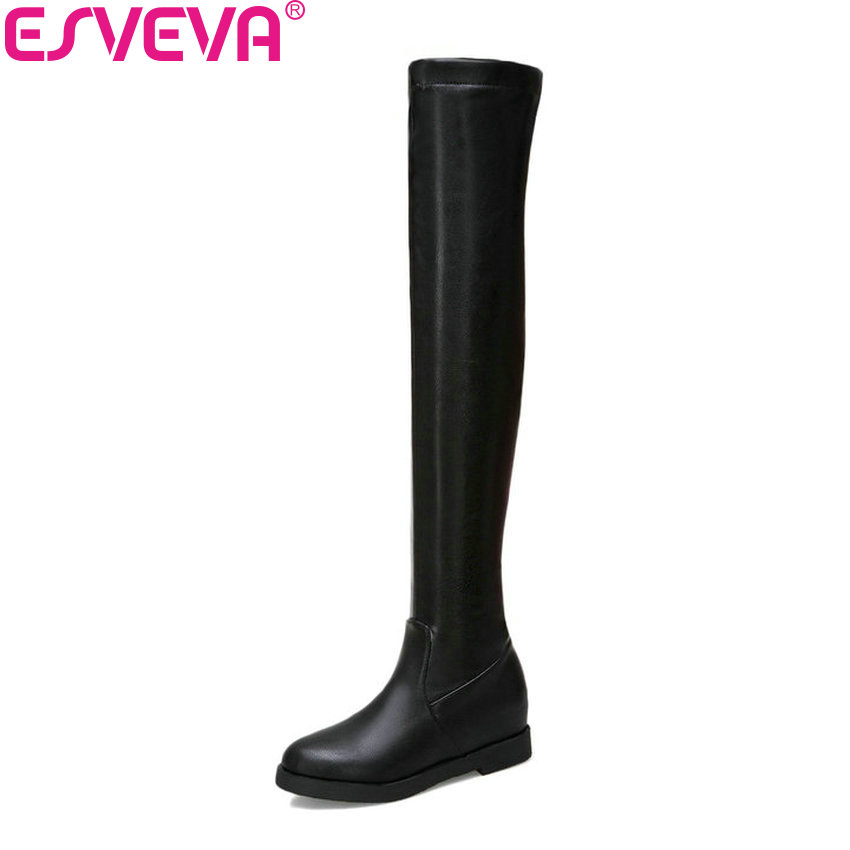 ESVEVA 2019 Shoes Woman Height Increasing Over The Knee Boots Round Toe High Heels Women Boots Winter Shoes Slip on Size 34-43 enmayer sexy red shoes woman high heels bowties charms size 34 47 zippers round toe winter over the knee boots platform shoes page 1