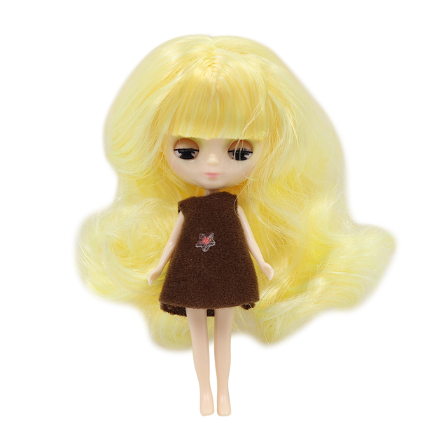 Mini Blyth nude doll 10CM multiple hair color with random dress with/without bangs normal body DIY fashion toys