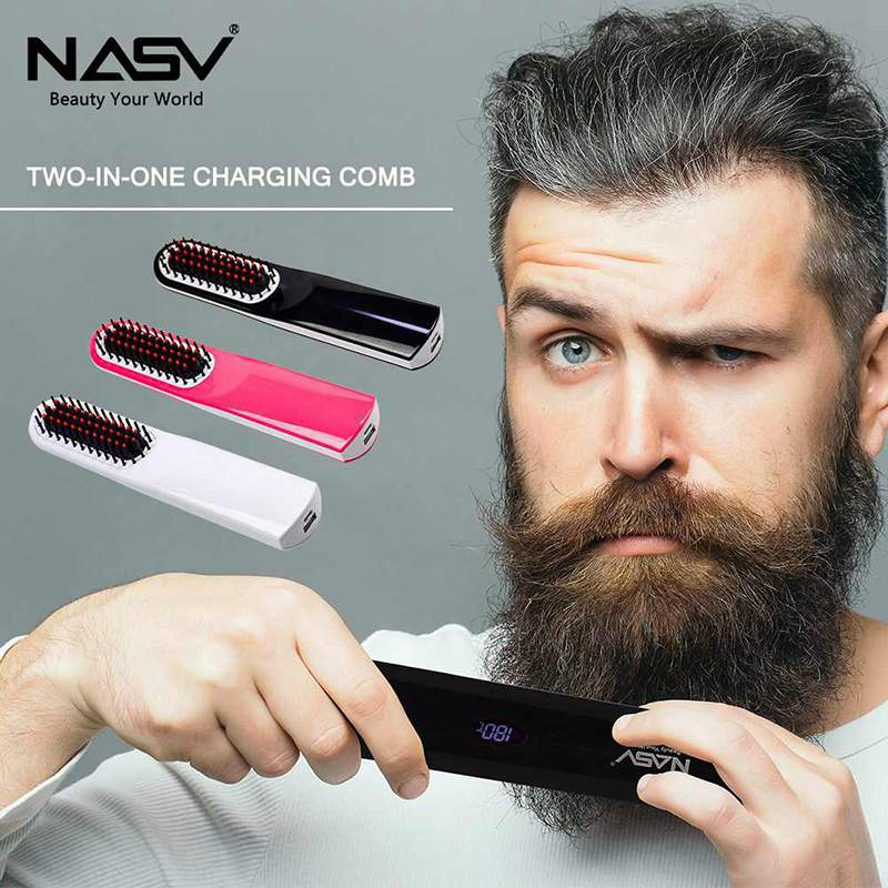 All In One USB Hair Straightener Brush, Portable Cordless Beard Straightening Brush, Electric Hair Comb For Men Women