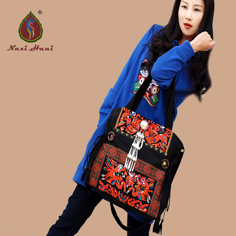 New Arrival Miya Embroidery Shoulder Messenger Bags Vintage Black Canvas Handbags Ethnic Casual Women Bags